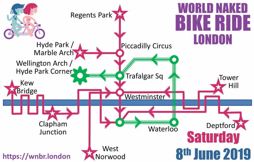 World Naked Bike Ride London 2019 route diagram